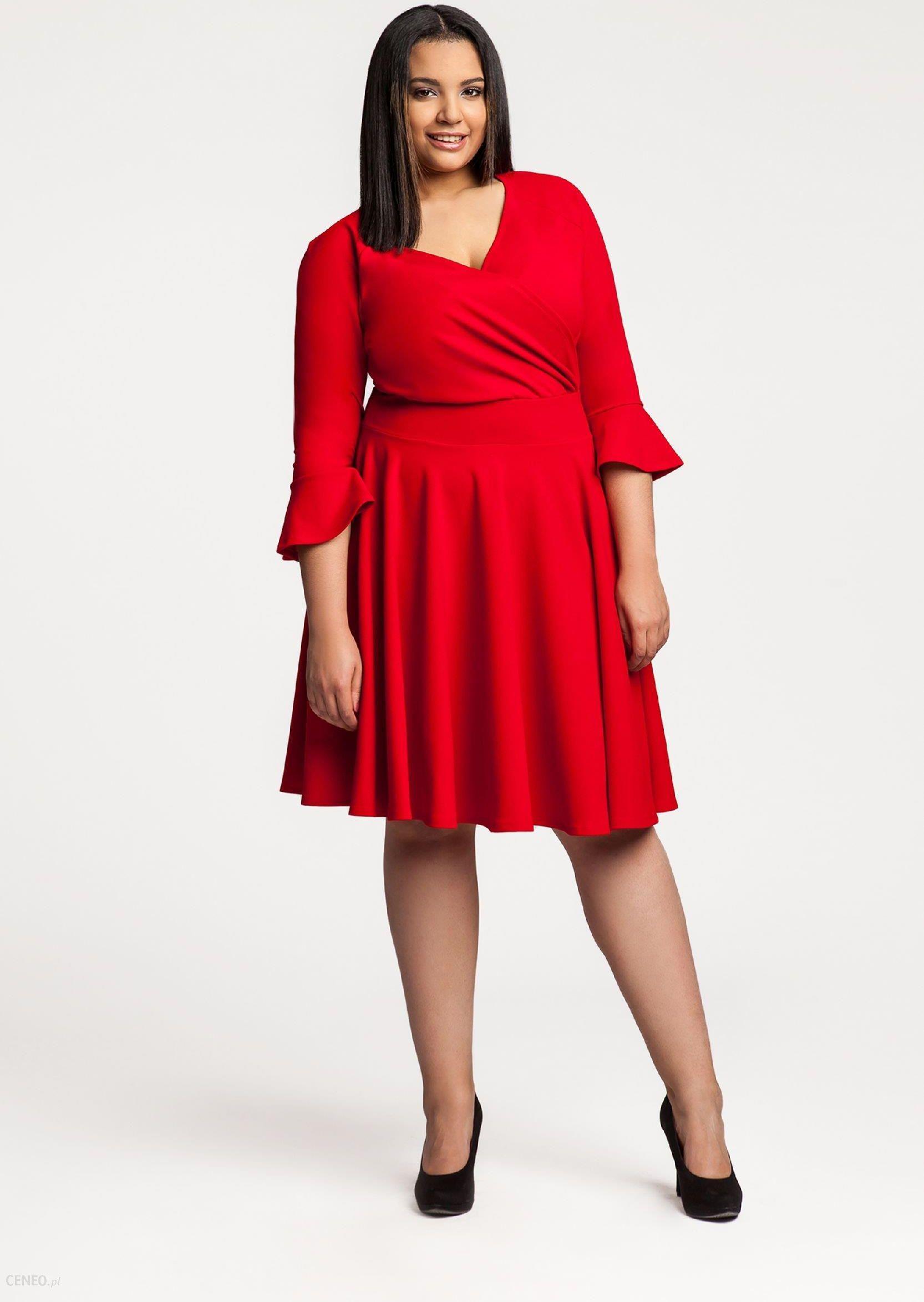 157645f0eb Ptak Moda Sukienka koktajlowa z kopertowym dekoltem M56248 czerwona r. 48 -  zdjęcie 1