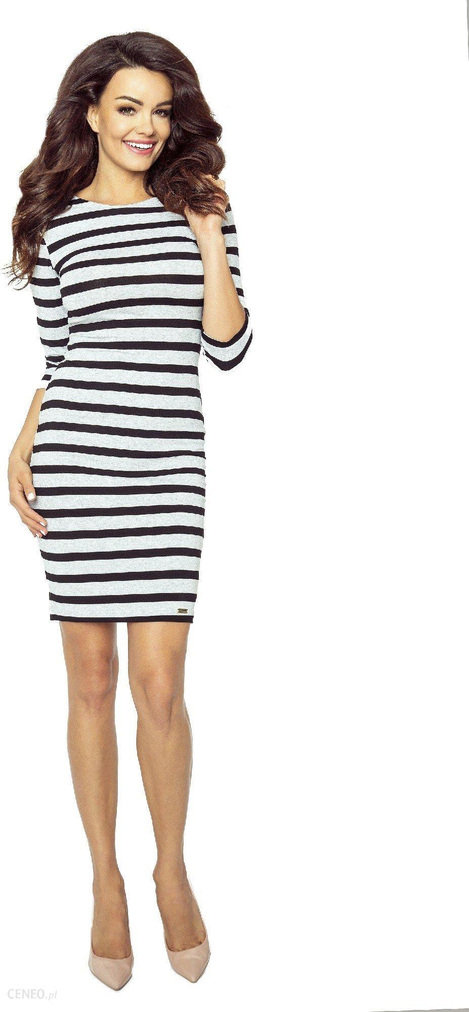ee28c5b12c Ptak Moda Casualowa sukienka w paski M50629 biało-czarna r. XL - zdjęcie 1