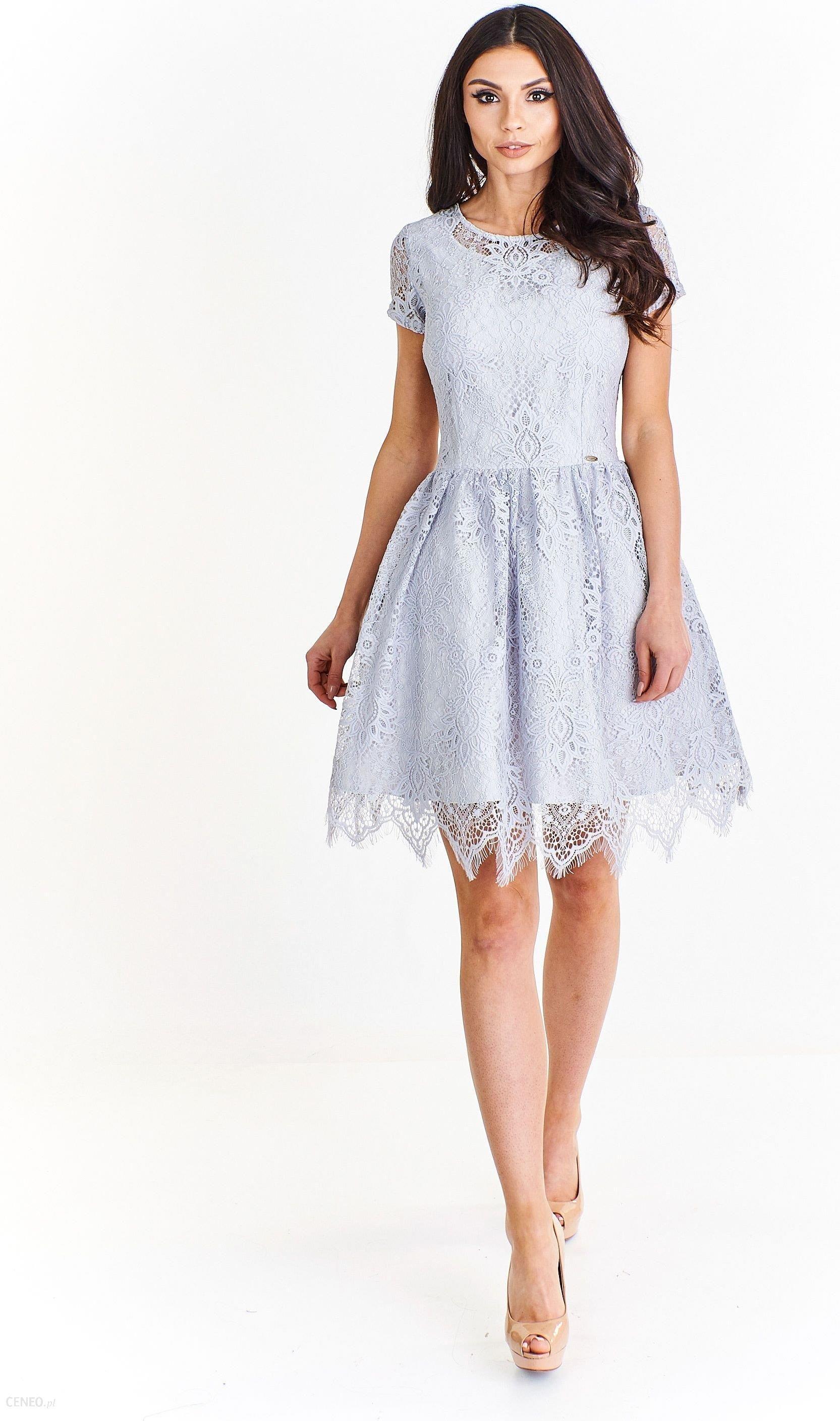 a07713d096 Ptak Moda Dwuwarstwowa sukienka koktajlowa z koronką M55352 szara r. 34 -  zdjęcie 1
