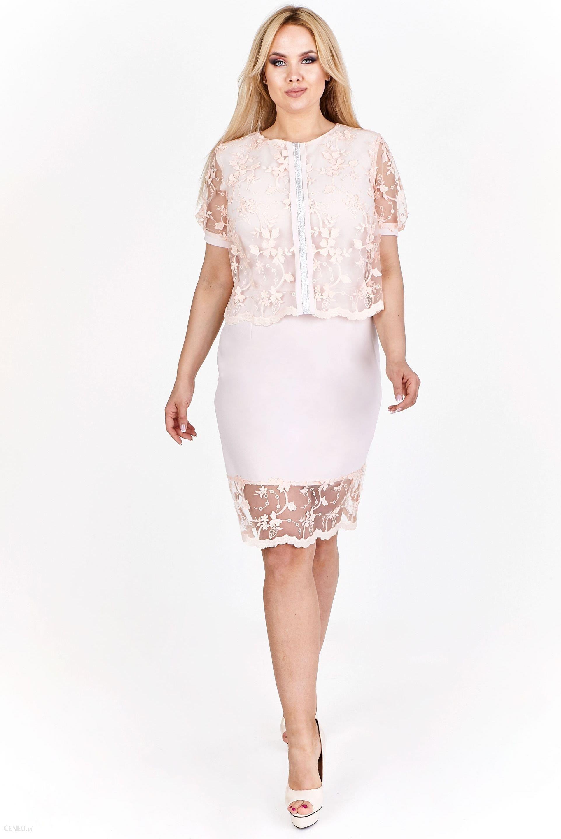 1c8cf9c2ee Ptak Moda Dwuwarstwowa sukienka z koronkową narzutką M55257 różowa r. 48 -  zdjęcie 1