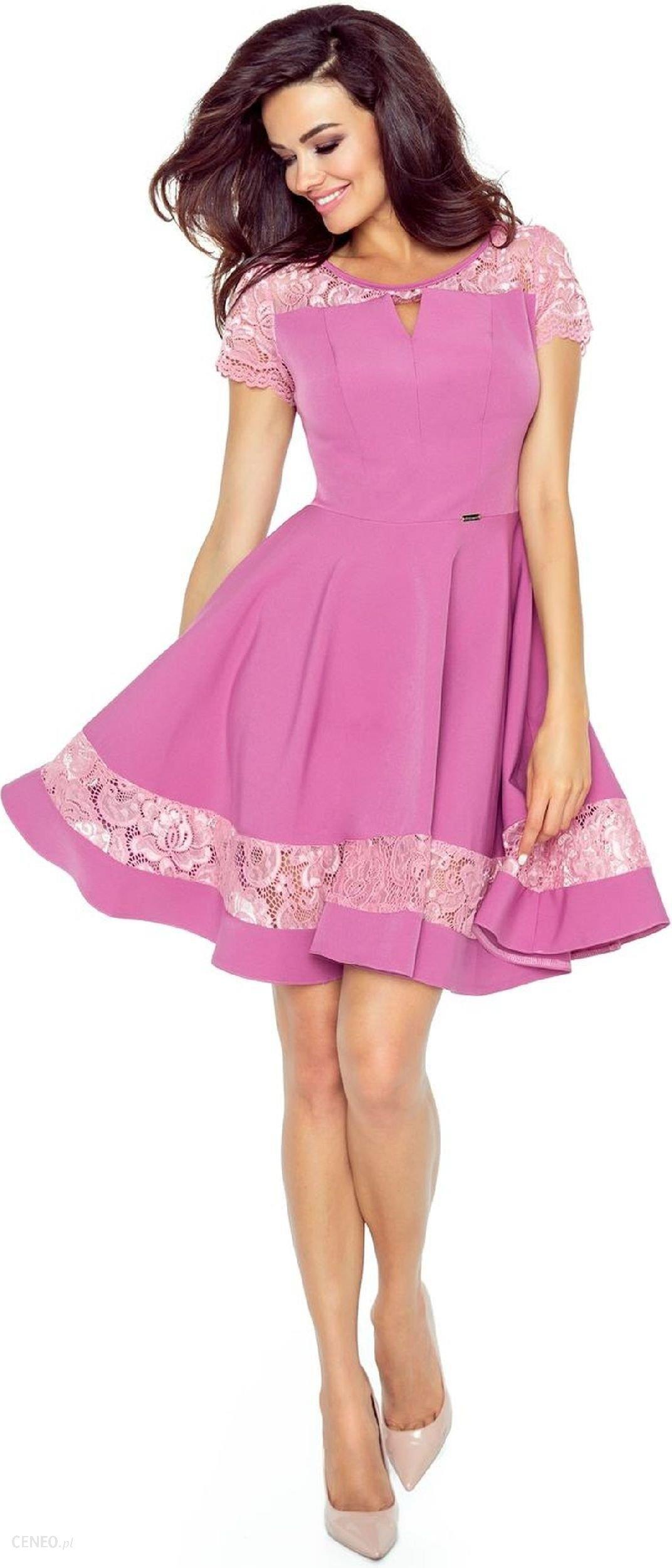 5d09ce3f81 Ptak Moda Elegancka sukienka z koronkowymi wstawkami M49856 różowa r. XL -  zdjęcie 1