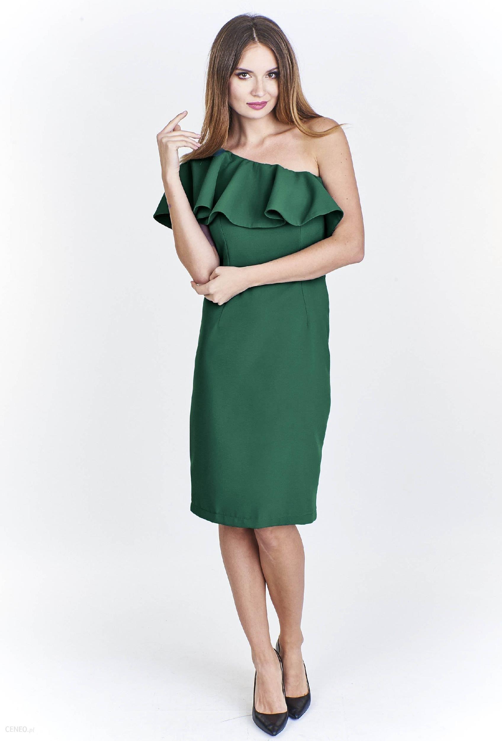 694570c739 Ptak Moda Koktajlowa sukienka na jedno ramię M48025 zielona r. 40 - zdjęcie  1
