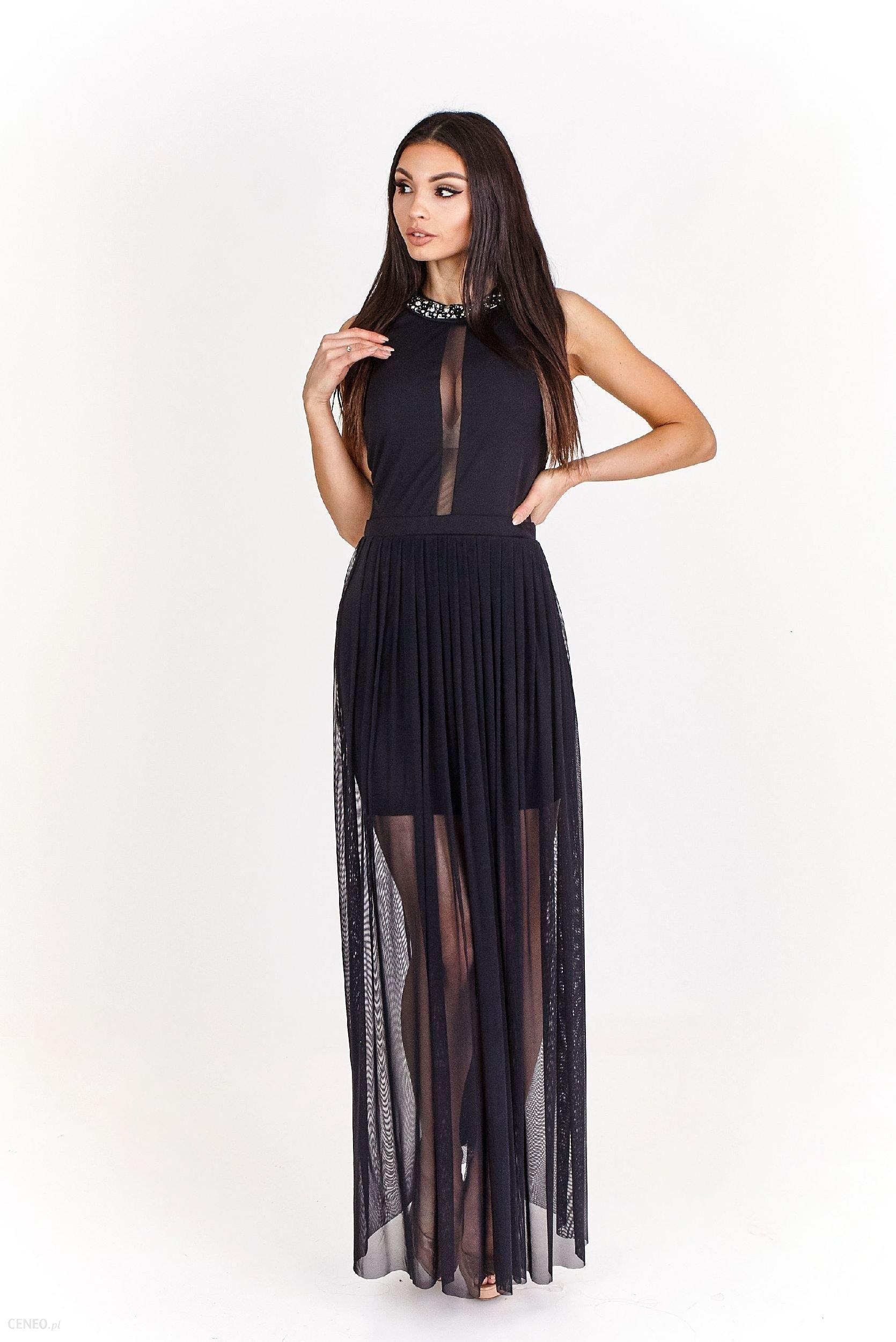 e5111a1a6afacf Ptak Moda Seksowna, dwuwarstwowa sukienka maxi M55890 czarna r. 40 -  zdjęcie 1