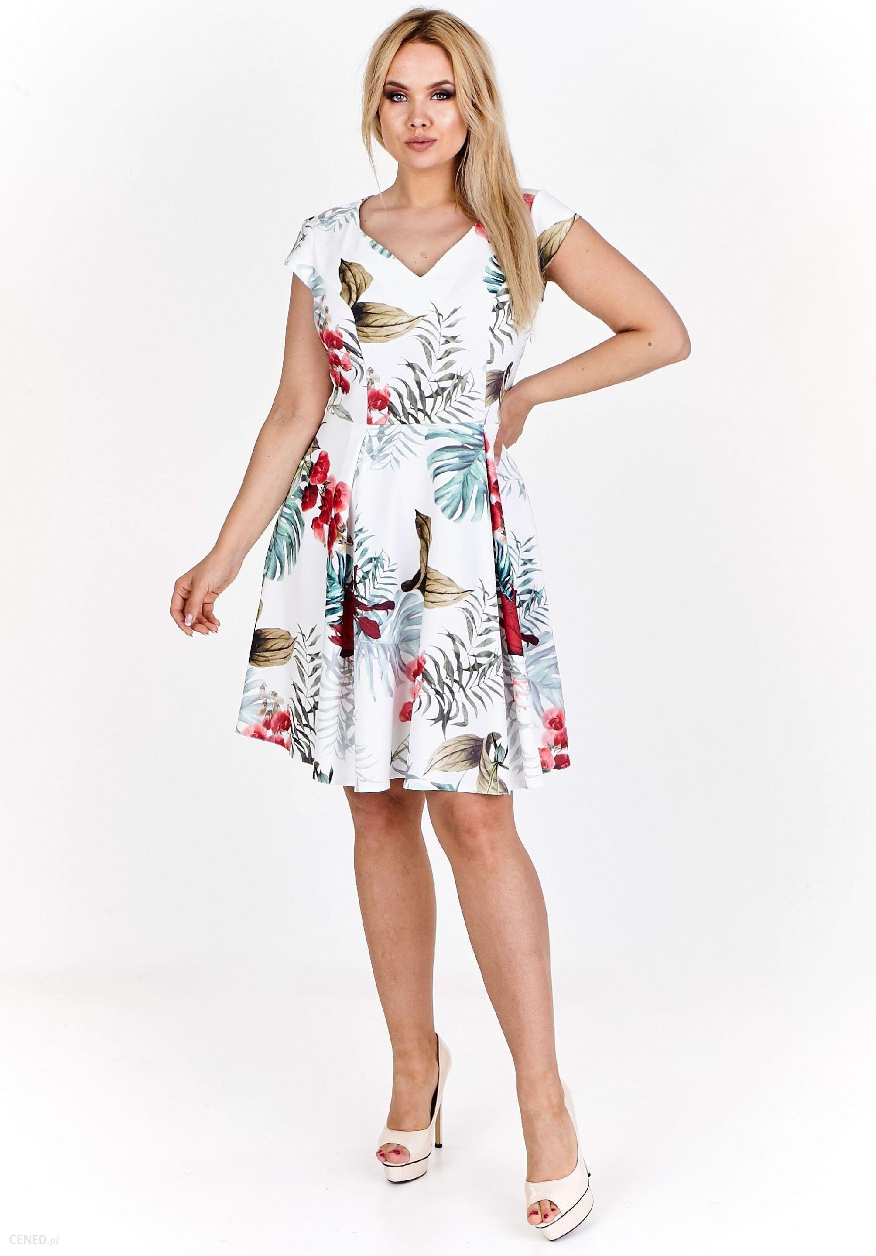 c02b2e0c02 Ptak Moda Rozkloszowana sukienka koktajlowa M56764 biała r. 44 - zdjęcie 1