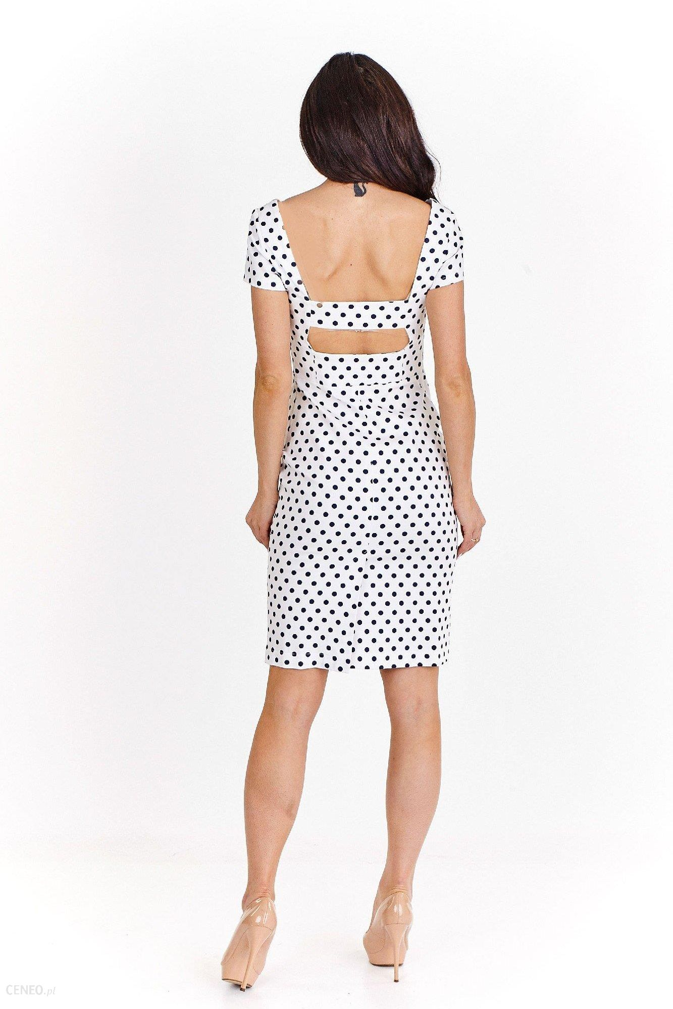 ad7dd301bf Ptak Moda Pudełkowa sukienka w grochy z krótkim rękawem M55992 biało-czarna  r. XS