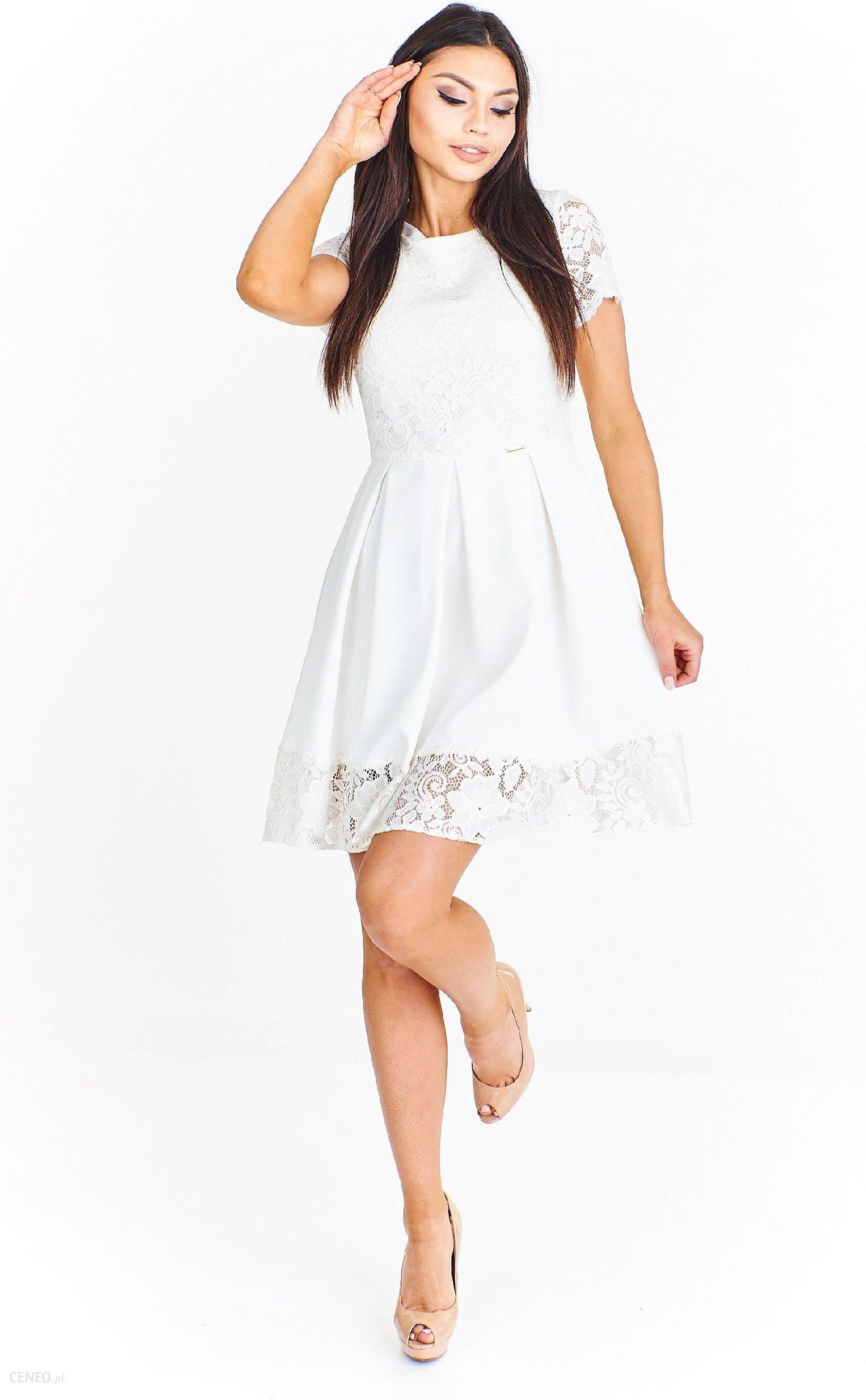b45b1e7f0b Ptak Moda Koktajlowa sukienka mini wykończona koronką M54889 ecru r. 44 -  zdjęcie 1