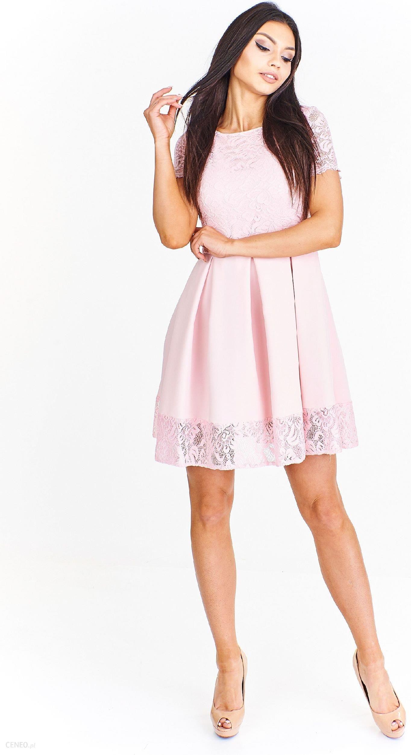 a00189ba0d Ptak Moda Koktajlowa sukienka mini wykończona koronką M54889 różowa r. 44 -  zdjęcie 1