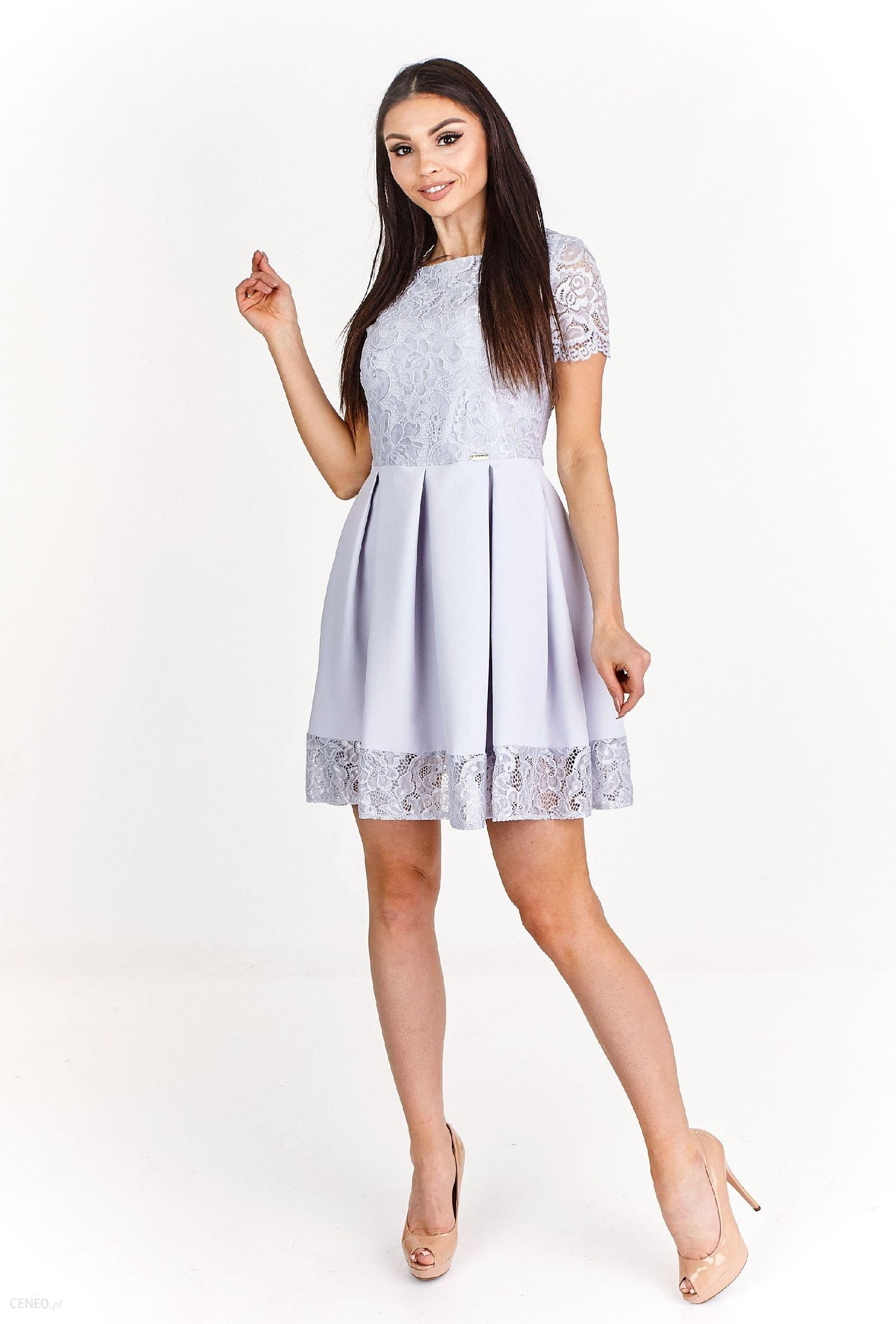 8c273b1093 Ptak Moda Koktajlowa sukienka mini wykończona koronką M54889 szara r. 40 -  zdjęcie 1