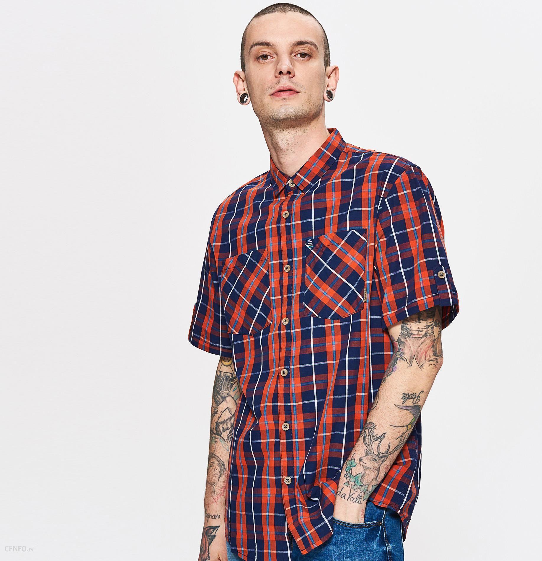 Cropp Koszula w kratę Pomarańczowy Ceny i opinie  8bKpL