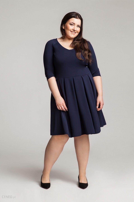 dc8d9d0d76 Rozkloszowana czranatowa sukienka plus size 44 - Ceny i opinie ...