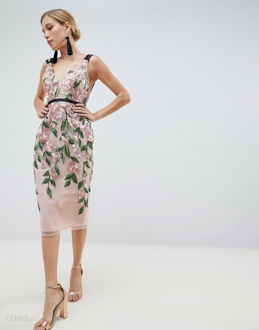 640e1059e ASOS DESIGN Floral Embroidered Pencil Midi Dress - Multi - zdjęcie 1