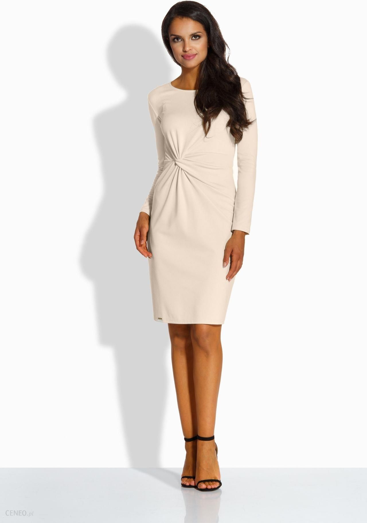 a03a34576c Elegancka dopasowana sukienka beżowy - Rozmiar  XL - Ceny i opinie ...