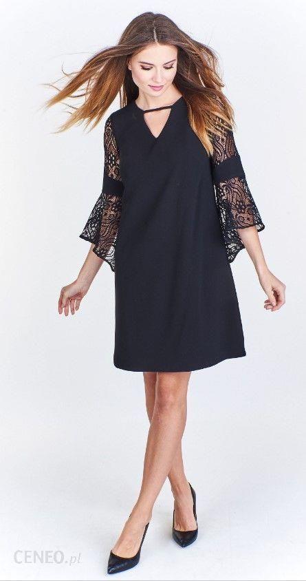 02206e23305 Ptak Moda Trapezowa sukienka z koronkowym rękawem Czarna r. 46 - zdjęcie 1