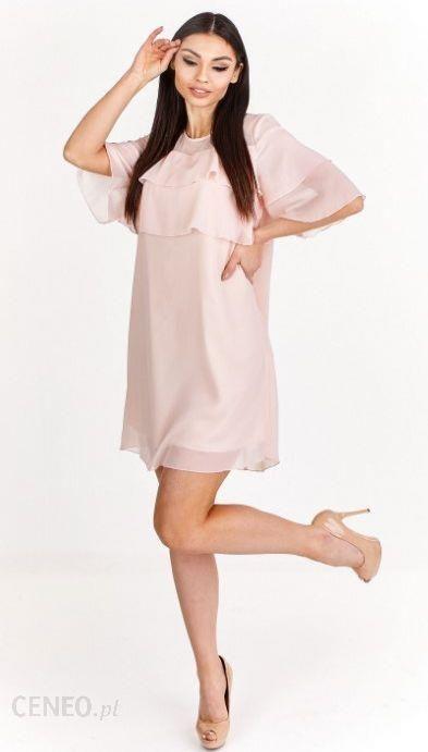 21f4f67620 Ptak Moda Trapezowa sukienka szyfonowa z falbanami Beżowa r. 44 - zdjęcie 1