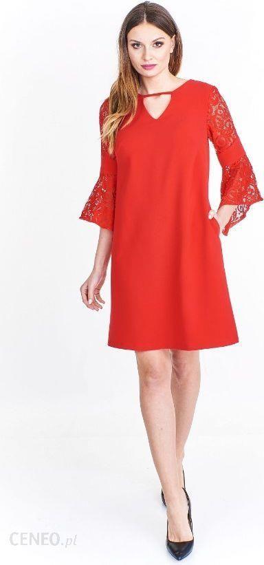 69076385c2 Ptak Moda Trapezowa sukienka z koronkowym rękawem Czerwona r. 48 - zdjęcie 1