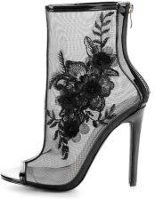 df324853e9861 Primamoda Czarne botki z siateczki z kwiatem r.37 Allegro