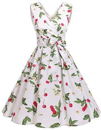 17c6113e26 Amazon dresstells XX Vintage Retro Rockabilly Sukienka bez rękawów  świąteczne impreza sukienka koktajlowa - swing xxxl