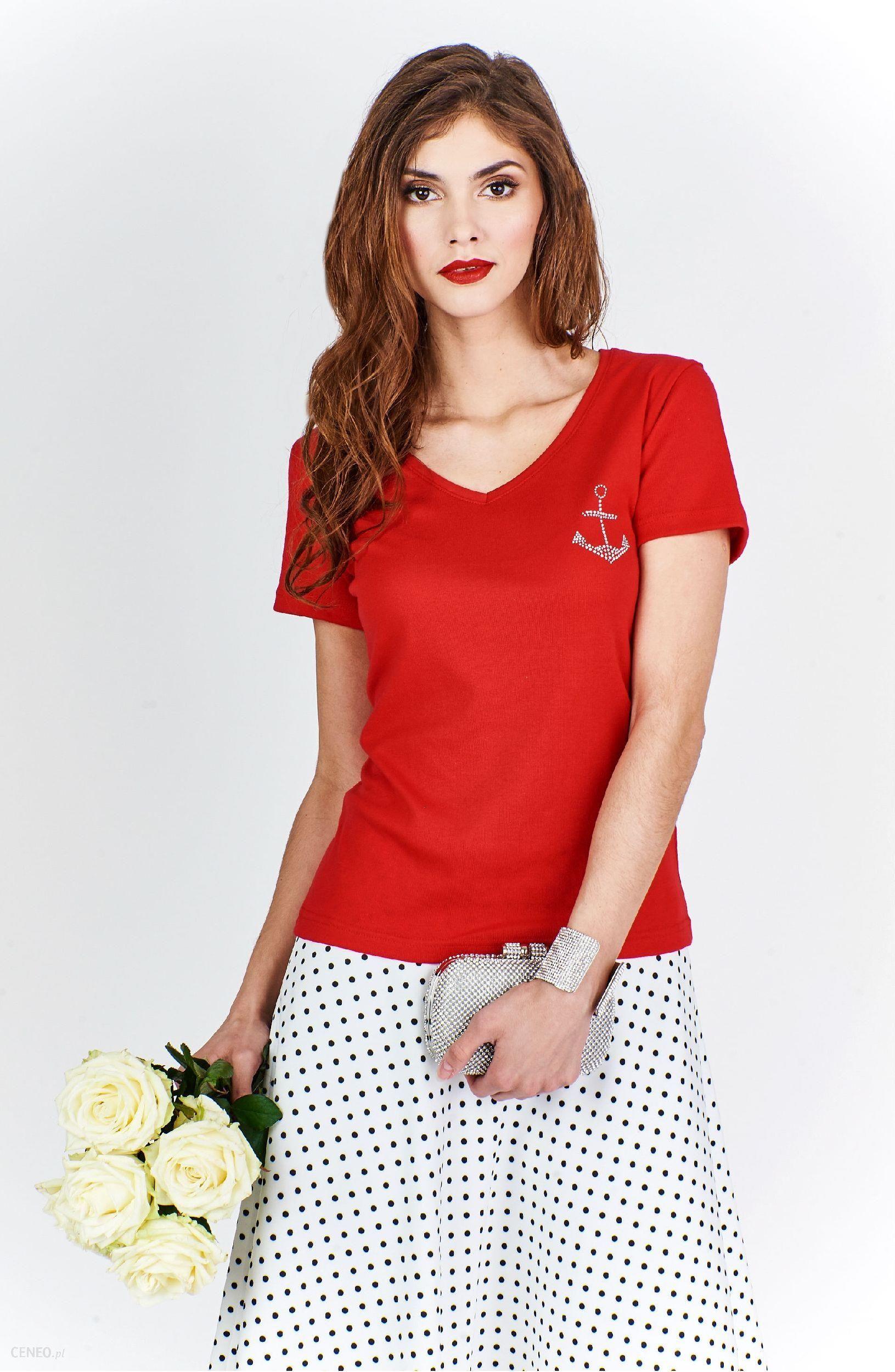 64bf2f6a6eee8f Ptak Moda Bluzka damska z dekoltem w serek w stylu marynarskim czerwona r. M  -