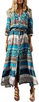 7b184f493d Amazon Boho Maxi sukienka kwiaty długa letnia sukienka damska sukienka Maxi  sukienka plażowa Casual długi rękaw