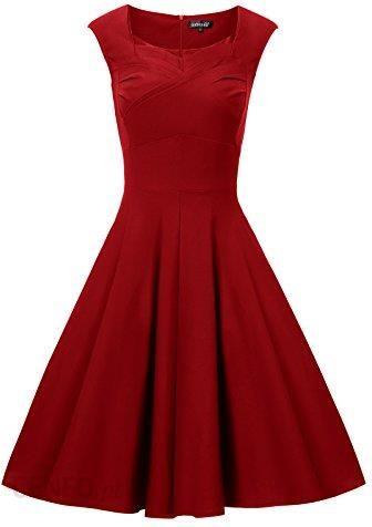 1b6798cf2 Amazon Gigi puste eleganckie suknie 50er damskie Swing odświętny Cocktail  wesele sukienka wieczorowa do kolan -