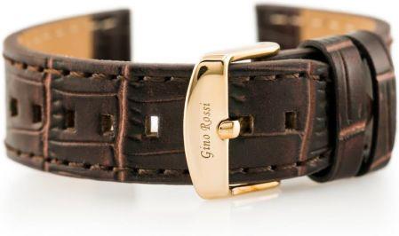 d96c4365eb42e Tayma Pasek skórzany do zegarka - GINO ROSSI - skóra węża płaski - brązowy  - 22mm