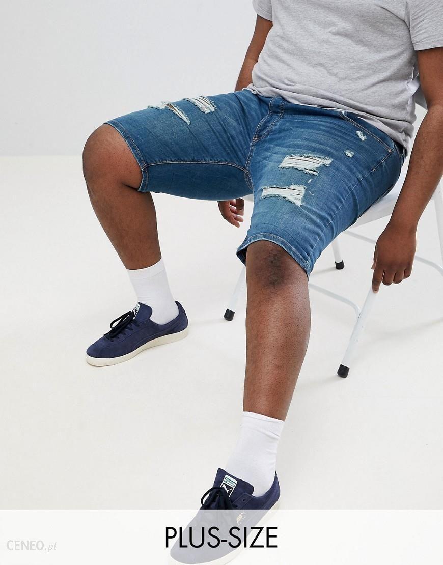 c2026a068b River Island Big & Tall Skinny Ripped Denim Shorts In Blue Wash - Blue