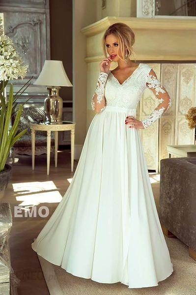 b78abc38a3 Długa biała sukienka koronkowa ślubna wesele 34
