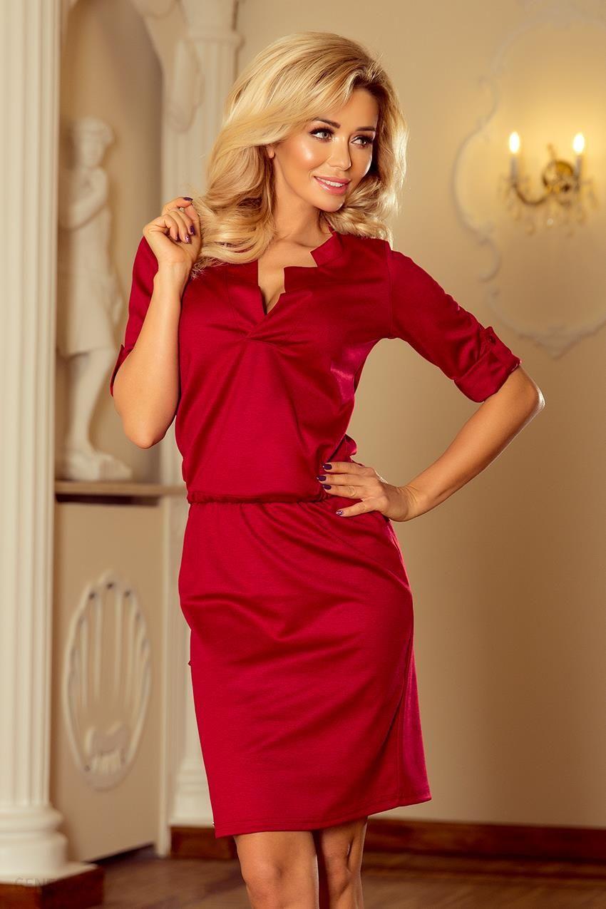 b65116add6 Numoco Sukienka z kołnierzykiem - bordowa 161-9 - Ceny i opinie ...