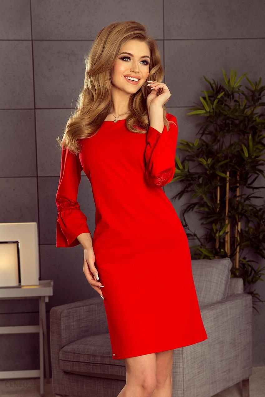 a9b98a2df6 Numoco Sukienka z koronką na rękawkach - czerwona 190-3 - Ceny i ...