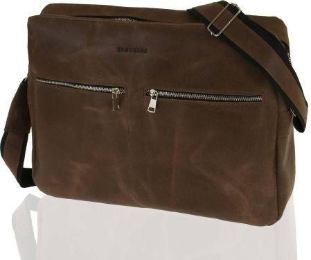 73be72415c733 StylowaTorba.pl Skórzana modna torba na ramię raportówka na laptop Brodrene  jasny brąz