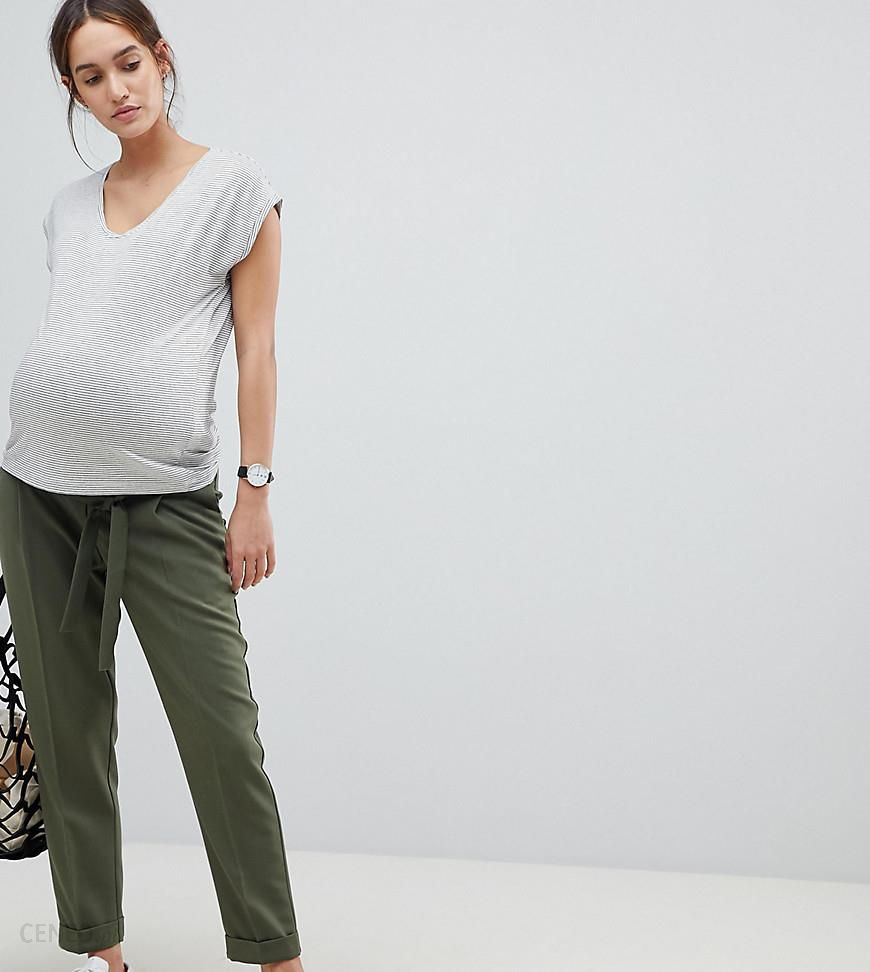 c7f000a152569 ASOS DESIGN Maternity woven peg trousers with obi tie - Green - zdjęcie 1