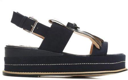 Czarne sandały damskie na korku eco skóra 36