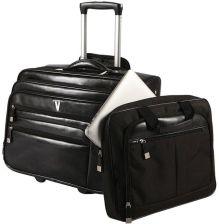 dd8cb63b6a5e4 VIP COLLECTION Torba podróżna ze skóry, pilotka, na laptopa - czarny