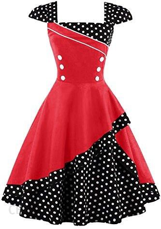 e63fe480a6 Amazon Torebka damska z lat 50. Vintage Rockabilly Sukienka koktajlowa  sukienka Pin Up Polka Dots