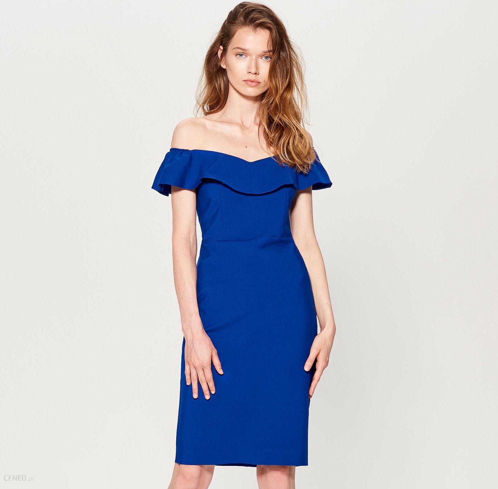 32e8953537 Mohito - Dopasowana sukienka hiszpanka - Niebieski - Ceny i opinie ...