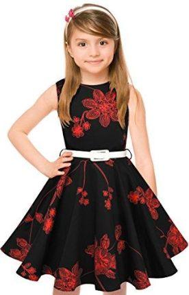 b3c351a87c Amazon Dla dziewcząt z lat Vintage Retro bawełna sukienka Hepburn styl  sukienka kwiatowa sukienka koktajlowa sukienka