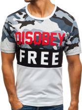 026418bbcc4442 RIPRO T-shirt męski z nadrukiem moro-biały Denley 6308