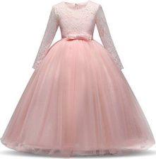417c7b3397 Amazon nnjxd dziewcząt z długim rękawem satyna koronka dzieci sukienka na  wesele z kokardką - Rosa