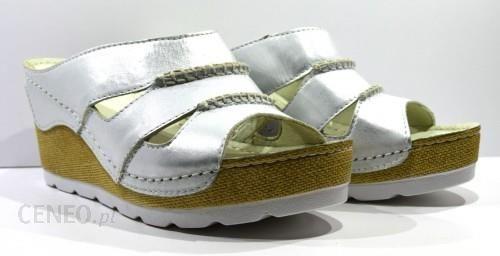 43247b91f29ec Obuwie damskie letnie klapki modne skórzane polskie buty Piechur srebrny  1052 - zdjęcie 1