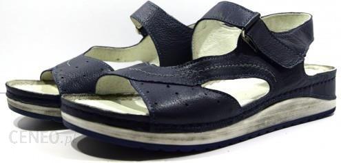 d1b26874ef3eb Obuwie damskie letnie sandały buty modne wygodne skórzane polskie Pollonus  granat 5-0915 - zdjęcie