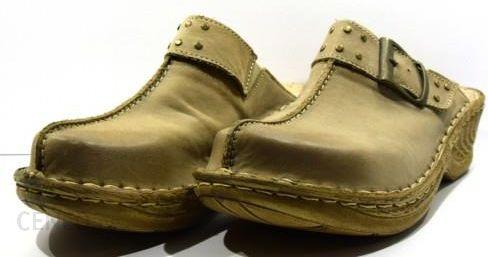 cbc9f4063e628 Obuwie klapki damskie kryte letnie buty modne skórzane polskie Łukbut Beż  652 - zdjęcie 1