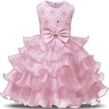 0330a1c882 Amazon nnjxd sukienka dziewczęca dzieci z falbankami koronka impreza dla  panny młodej sukienki - Rosa