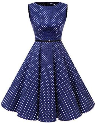 Amazon BBON Line Dress 50S retro drgać Vintage Rockabilly Sukienka fałd Rock, kolor: niebieski (RoyalBlue White Dot) , rozmiar: xxl