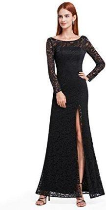 3c2458c50f Amazon Ever Pretty kobiety elegancka Lace wzornictwo z długim rękawem  sukienka wieczorowa