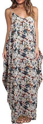 2c4ca3ea36 Amazon romacci damskie Boho sukienka z nadrukiem kwiatowym spaghetti Strap  Bohemian sukienka plażowa Loose Long Maxi
