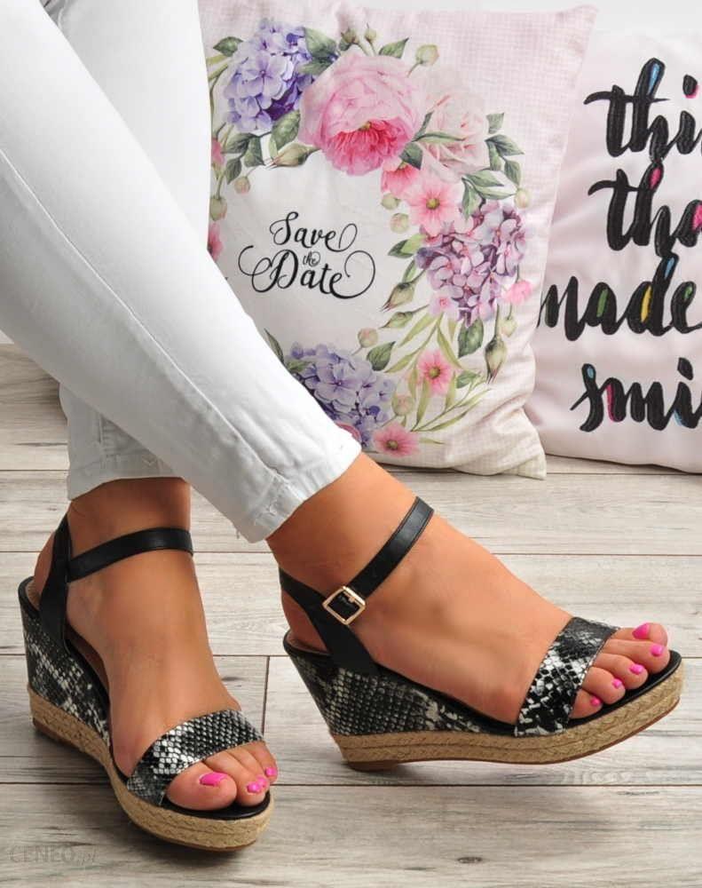 899841a4 Pantofelek24.pl | Sandały damskie espadryle na koturnie CZARNE | Lily Shoes  - zdjęcie 1
