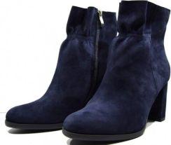 45930863 Obuwie damskie zimowe buty modne wygodne skórzane polskie Oleksy granat 2139