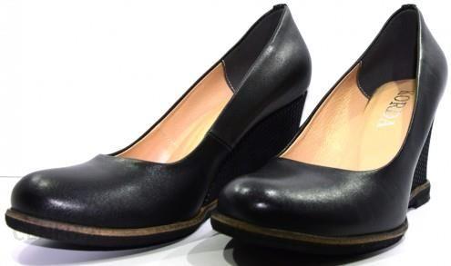 af4660073991a Obuwie damskie buty skórzane koturna modne polskie Korda czarny 1513 -  zdjęcie 1