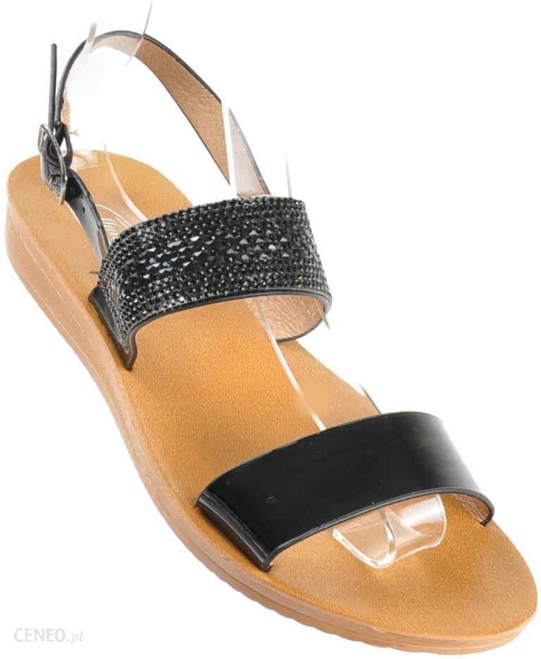 b74e8393d3807 Pantofelek24.pl | Klasyczne sandały na płaskim obcasie CZARNE | Mullanka -  zdjęcie 1