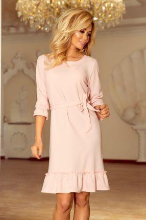 cc553114a5 Numoco 193-2 MAYA Sukienka z falbankami i paskiem - PASTELOWY RÓŻ